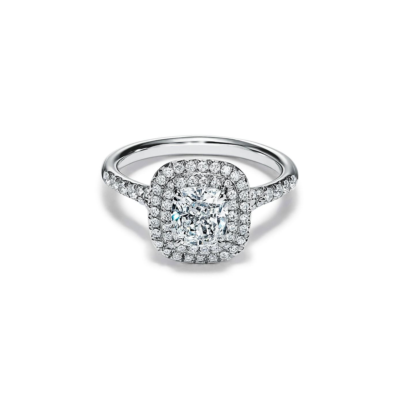 ティファニー ソレスト クッション カット ダブル ハロー エンゲージメント リング(1)―Tiffany & Co.(ティファニー)