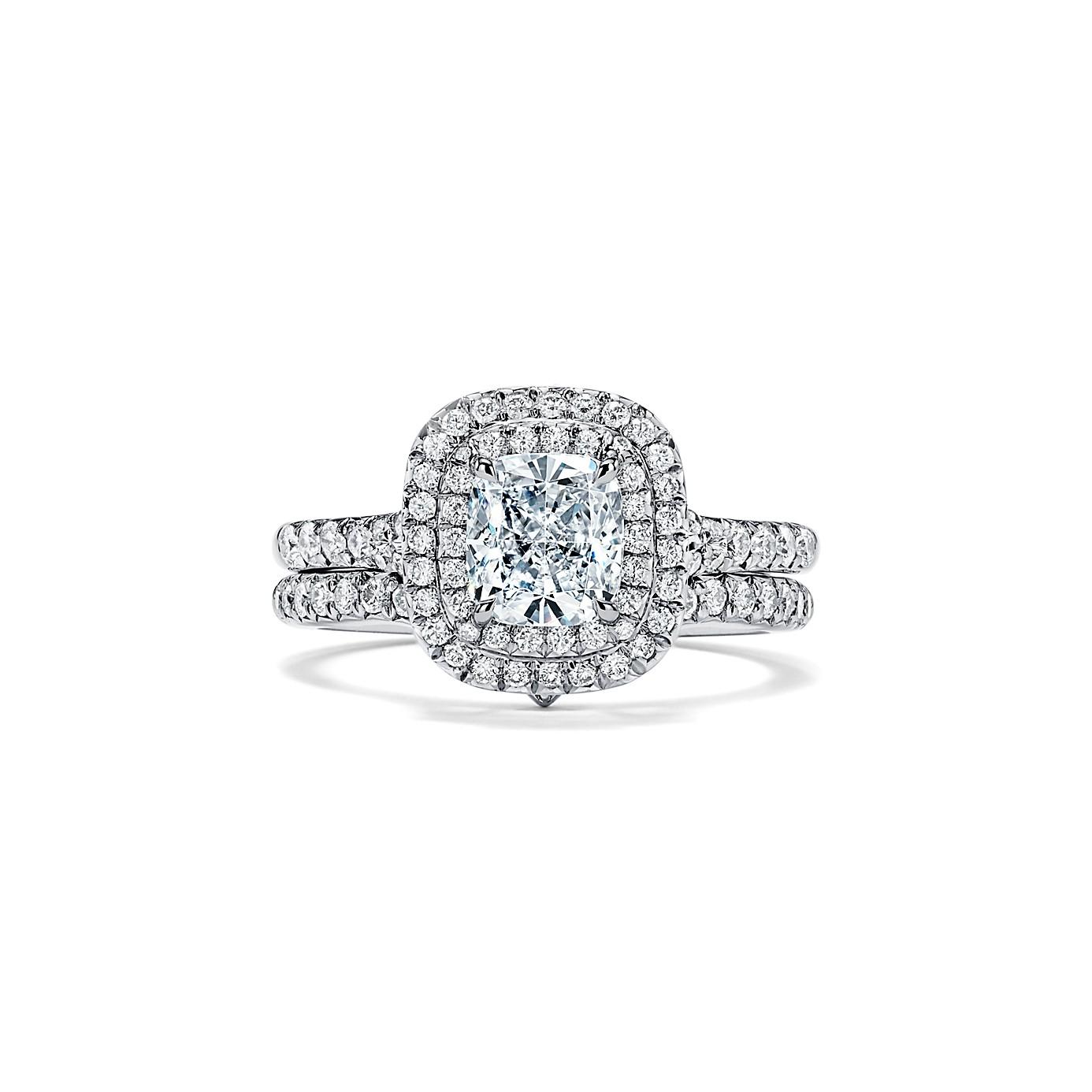 ティファニー ソレスト クッション カット ダブル ハロー エンゲージメント リング(4)―Tiffany & Co.(ティファニー)